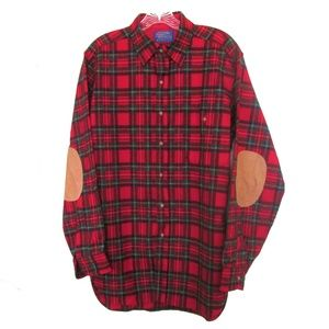 vintage plaid wool pendleton shirt elbow patches